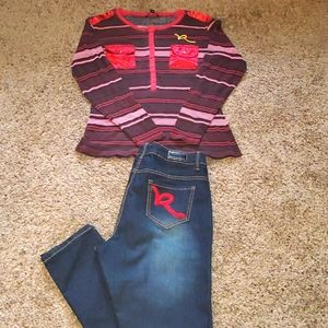 Rocawear plus size outfit 16 Jeans 1x shirt